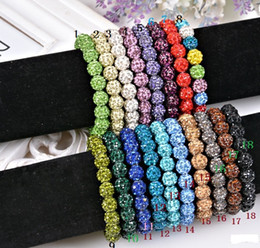 Wholesale Steel Ball Stretching - DHL Free Shipping Bling Neon Shamballa Bracelets Fluorescence Color Beads Disco Ball Stand Stretch Bracelets Handcraft Jewelry