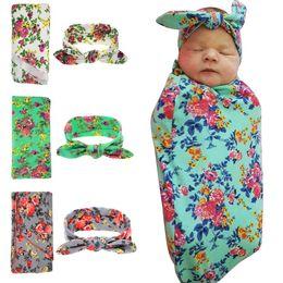 Wholesale Hospital Setting - Wholesale- Newborn Swaddle & headwrap Hospital Swaddled Set Floral baby swaddle set Headband Baby photo prop Top knots 1pc HB568 HB601