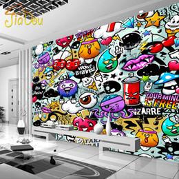 Fondos de pantalla de graffiti online-Al por mayor-Custom Mural Wallpaper 3D Colorido Graffiti Estilo Moderno Mural Habitaciones para niños Sala de estar KTV Rooms Telón de fondo de pantalla