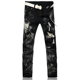 Wholesale Girls Denim Capris - Wholesale-Men's fashion personality beauty girl print jeans Slim black denim pants Long pencil trousers