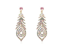 Wholesale Asian Fashion Designers - 2017 Hot Selling Fashion Promotion Ethnic Jewelry, Women Designer Crystal Earrings Platinum Plated 5 colors