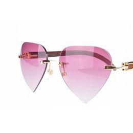Wholesale High Quality Wooden Boxes - buffalo horn sunglasses Heart & oval lens Rimless sunglasses Frame High Quality Mens Women sun glasses with red glasses box