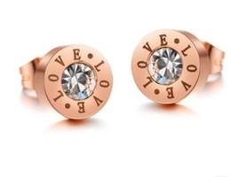 Wholesale Steel Lettering - Lettering love zircon studs creative design mini zircon Lettering rose gold plating Ms titanium steel stud earrings