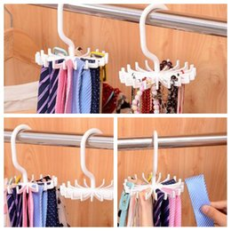 Wholesale Function Rotation - Creative Multi-function Necktie Hook White Plastic Hook Practical 360 Degree Rotation Folding Necktie Hook CCA6903 200pcs