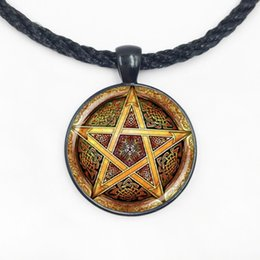 Wholesale Gold Weave Necklace - Wholesale Glass Dome hot sale gold Pentagram weaving patterns pendant necklace handmade jewelry