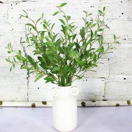 Wholesale Branches For Wedding Decorations - 7pcs lot Simulation Olive Branch Artificial plant leaves Artificial flowers for Home Wedding Decoration 98cm Long