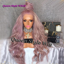 Wholesale Mixed Lace Front Wig - Layered Cut Taro mix Pink Color Synthetic Heat Resistant Lace Front Wig Polished Loose Curl Wave Hair Lace Front Wigs for Women