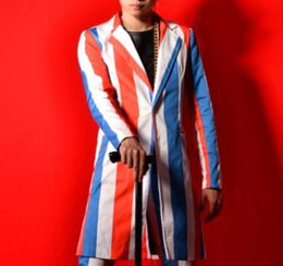 Wholesale Ds Bar - Red white blue striped men suit male singer dancer star nightclub bar stage show DJ DS prom costumes long jacket coat pants trousers sets
