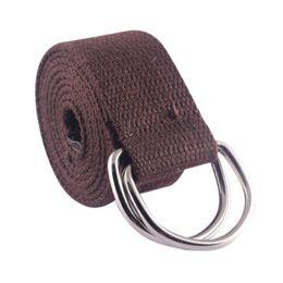 Wholesale Canvas Belt Ring Buckle - Wholesale- Women Men Double Rings Waist Belts Buckle Canvas Waistband Strap Casual Belts(color:coffee)