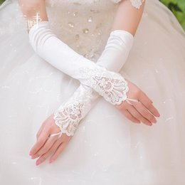 Wholesale Long Ivory Wedding Gloves - Cheap Lace Bridal Gloves Long Fingerless Above Elbow Length New Arrival Bride Gloves Wedding Accessories Fast Shipping