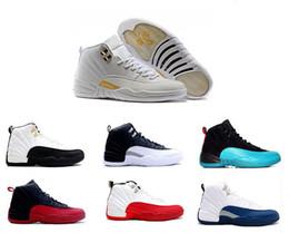 6aae560512a Air Retro 12 12s XII para mujer zapatillas de baloncesto ovo blanco GS  barones TAXI Flu Game Playoffs flint grey French Blue Sneakers