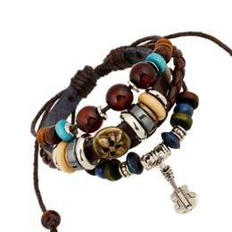 Wholesale Guitar Vintage Jewelry - Wholesale- Fashion Jewelry Leather Bracelet Men Casual Personality Alloy Guitar pendant beaded Hand made Vintage Punk Bracelet Women 0165