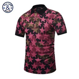 Wholesale Mens Design Shirts - 2017 polo famous brand polo 3d print full of red stars mens short sleeve slim shirts casual skull printed new design fashion sweatshirts