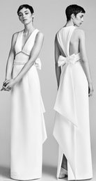 Wholesale Dress Detail Waist - bow back modern column wedding dresses 2018 viktor and rolf spring bridal sleeveless v neck embellished waist wedding gowns