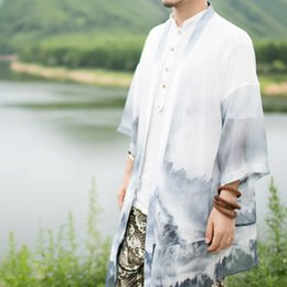 Wholesale Chinese White Coat - Chinese style Tang suit Chinese men's clothing Ultra thin Mesh coat Summer national costume Retro gowns tide