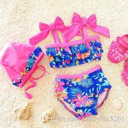 Wholesale Toddler Girls Tankini Swimsuits - Kids Girls Bikini Swimwear Baby Girls Floral Swimsuit Toddler Hat + Top + Pants 3pcs Set 2017 Princess Bathing Tankini Beach Clothes B147