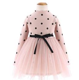 Wholesale Toddlers Korean Fashion - Fashion Pink Korean Little Girls Dress Kids Clothes Toddler Dress Autumn Children Long Sleeve Polka Dot Baby Dress Girl Clothing MWG004