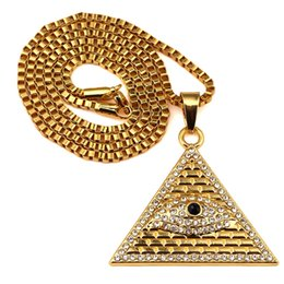 Wholesale Pyramid Chains - Eye of Horus Pyramid Hiphop Pendant Necklaces For Men Top Quality 18K Gold Plated Chains Luxury Hip Hop Jewelry Wholesale
