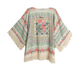 Wholesale Womens Knit Shorts Wholesale - Wholesale-Newly Floral Print Womens Short Batwing Cardigan Tops Blouse Tassels Shawls Coat