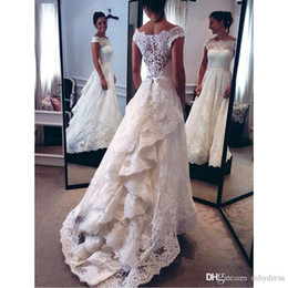 dresses com Coupons - Long Sweep A Line Wedding Dresses 2019 Fashion Capped Sleeves Buttons Back Bridal Gowns From China Vestido De Noiva Com Renda