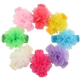Wholesale crochet wide headband flower - Newborn Baby Headbands Flower Kids Chiffon Mesh Headbands Girls Infants Crochet Wide hairbands children hair accessories Headdress KHA141