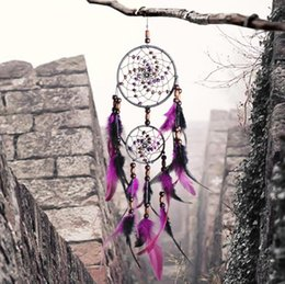 Wholesale Wall Hanging Bell - Purple Nautical Home Decor Crafts Dreamcatcher Wind Chimes Handmade Dream Catcher With Feathers Wall Hanging Wind Bell