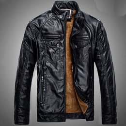 Wholesale Mens Leather Jackets Brown Winter - New Fashion Mens Jacket Autumn And Winter Men Jacket Leather With Cashmere Free Shipping
