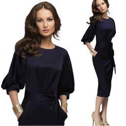 Wholesale Elegant Slim Office Dress - Casual Office Dress 3 4 Slim Lantern Sleeve Elegant Women Dress Working Fashion Ladies Dress