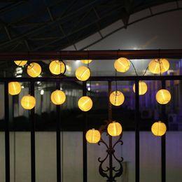 Wholesale Chinese Solar Garden Lanterns - Wholesale- 10 LED Solar Chinese Hanging Lantern String Outdoor Garden Yard Lamp Festival Tree Decoration Light #LO