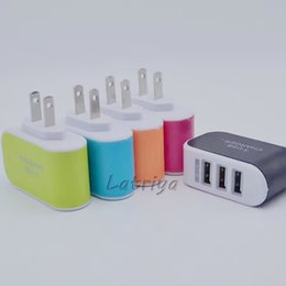 Wholesale Pcs Port - Candy Color 3 in 1 3.1A US EU plug USB Port Travel AC Power Charger Adapter 3 Ports USB Charger For cell phone tablet PC Samsung HTC