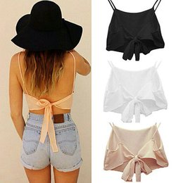 Wholesale Sheer Chiffon Blouse Wholesale - Wholesale- Sexy Womens Sheer Bowknot Summer Casual T Shirt Tops Blouse Camisole Vest