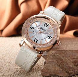 Wholesale Quartz Bottle - Festival Memorial Day gift women luminous hands Crystal wristwatch Sand bottle fashion quartz diamond Leather watches