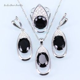 Wholesale African Amethyst Pendant - Trendy Big Black stone White Rhinestone Huge Round silver 925 Jewelry Sets For Women Drop Earrings Pendant Necklace Ring