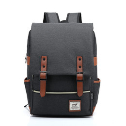 Wholesale Green School Bags - Hot Sale Preppy Solid Canvas Backpack High Quality Teenagers School Bag Casual Travel Bag Female Mochila Men Women Bag H2004