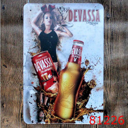 Wholesale Bbq Signs - Vintage 20*30cm Iron Paintings Beer Cake Tin Poster For Bar BBQ Shop Store Decoration Metal Tin Sign Popular