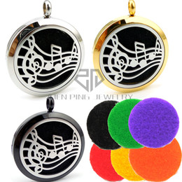 Wholesale Music Pendant Necklaces - With Chain Round Silver Music (20-30mm) Essential Oils Diffuser Locket Aroma Locket Necklace Perfume Diffuser Locket