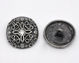 Wholesale Metal Shank Button - Kimter Ancient Silver Pattern Round Metal Button Buttons With Shank 23x23mm For Jewelry Scrapbook Decorating Clothing Pack Of 20pcs I580L