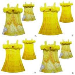 Wholesale Chinese Dress Cosplay - Childrens Clothing Dresses 2017 Girls Beauty and Beast Belle Princess Dresses Printing Belle Cosplay Costume Princess Best Gift Dresses