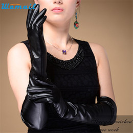 Wholesale Long Leather Evening Gloves - Wholesale- WOMAIL delicate tactical gloves gloves wome New Evening Party Elbow Finger Mitten Leather Long Gloves Black W12