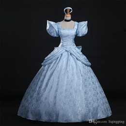Wholesale Cinderella Costume For Women - 2017 High Quality Cinderella Cosplay Costume Blue Brocade Printed Princess Cinderella Dress For Women