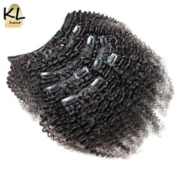 Wholesale Afro Kinky Remy Human Hair - KL Afro Kinky Curly Clip in Human Hair Extensions Natural Brazilian Remy Hair Clip-in Full Head 7Pcs Set Free Shipping