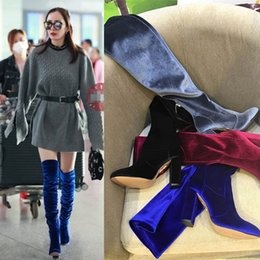 Wholesale Genuine Leather Long Boots - Spring Autumn Winter Women Fashion Platform Thigh-High Heels Blue Red Velvet Boots for Woman Over The Knee High Long Stretch Boots