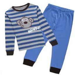 Wholesale Monkey Children Clothes - Stripe Monkey Fashion Children Pajamas Clothes Suit 2017 Newest Baby Boys Sleepwear Wholesale Girls Nightgown 100% Cotton