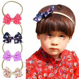 Wholesale Cloth Flower Hair Accessories - Baby Girls Flower Headbands Elastic Polka Dot Bow Headband Children Kids Cloth Hair Accessories Baby Girls Nylon Bowknot Hairbands KHA507