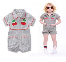 Wholesale Cherry Romper - Newest Girls Baby Jumpsuits Summer Short Sleeve Babies Onesies Clothing Striped Cherry Toddler Romper Cotton Home Bodysuit Infant Clothes