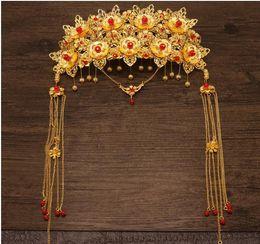 Wholesale cheongsam sequin - The bride headdress costume show kimono accessories Chinese cheongsam Coronet Wo Ethnic Jewelry Wedding Dress hair comb flow