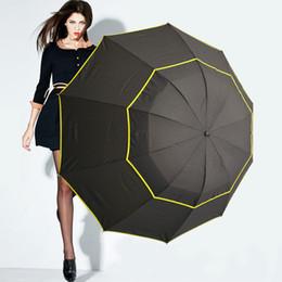 Wholesale Black Rain Umbrella Man - 130cm Big Top Quality Umbrella Men Rain Woman Windproof Large Paraguas Male Women Sun 3 Floding Big Umbrella Outdoor Parapluie