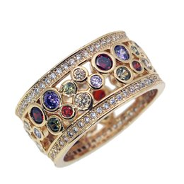 Wholesale Amethyst Fashion Rings - Wedding Band Ring Yellow Gold Crystal Gemstone Garnet Amethyst Morganite Women Fashion Jewelry Prom Gift Ring Size 7 8 9