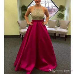 Wholesale Gold Royal Blue Dresses - 2016 New Halter Beaded Long Prom Dresses A Line Backless Party Dresses Gold Silver Sequins Black Royal Blue Satin Evening Gowns Real Photos