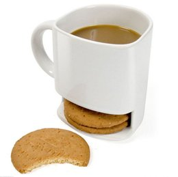 Wholesale biscuit holder - 8 oz Cookies Milk Coffee Cup Ceramic Mug Dunk Mug with Biscuit Pocket Holder